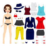 Cute Paper Doll Girl. Cute short hair brunette girl paper doll game fashion clothing set collection Royalty Free Stock Photos