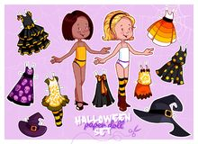 Cute paper doll in Halloween theme. Stock Photos