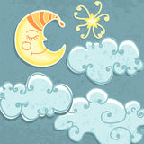 Cute paper Moon and clouds Stock Image