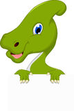 Cute Parasaurolophus cartoon with blank sign Royalty Free Stock Image