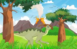 Cute Parasaurolophus cartoon in the jungle Stock Photo
