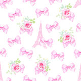 Cute Paris inspired print. Seamless pattern with pink and white Stock Photo