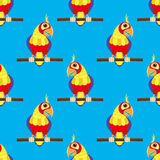 Cute parrot on a branch. Pattern for seamless background cute parrot on a branch Royalty Free Stock Photos