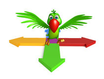 Cute Parrot cartoon character with arrow sign. 3d rendered illustration of Parrot cartoon character with arrow sign Royalty Free Stock Photography