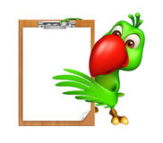 Cute Parrot cartoon character with exam pad Stock Images