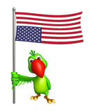 Cute Parrot cartoon character  with flag. 3d rendered illustration of Parrot cartoon character with flag Royalty Free Stock Photos