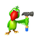cute Parrot cartoon character  with hammer Stock Image