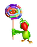 Cute Parrot cartoon character  with lollypop Royalty Free Stock Photography