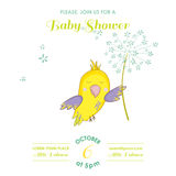 Cute Parrot Flying with a Flower. Baby Shower or Arrival Card Royalty Free Stock Photography
