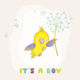 Cute Parrot Flying with a Flower. Baby Shower or Arrival Card Stock Photos