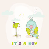Cute Parrot with a Letter. Baby Shower or Arrival Card Stock Photo
