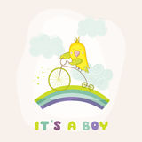 Cute Parrot Riding a Bike. Baby Shower or Arrival Card Stock Photography