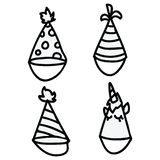 Cute party hats cartoon line art vector illustration motif set. Hand drawn for special occassion. Unicorn celebration graphics. vector illustration