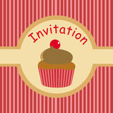 Cute party invitation for kids with cupcake Royalty Free Stock Photo