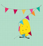 Cute party kawaii style monster wrapped in bunting Royalty Free Stock Image