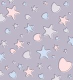 Cute pastel background with hearts and stars Stock Images