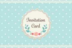 Cute pastel blue polka dot with lace elegant background invitati Royalty Free Stock Image