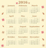 2016 cute pastel calendar with lovely flowers Royalty Free Stock Image