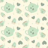Cute pastel cartoon tea set seamless pattern background illustration with cupcakes. Cute pastel cartoon tea set seamless vector pattern background illustration Stock Photo