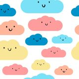 Cute pastel clouds seamless pattern stock illustration