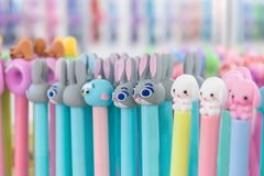 Cute pastel color cosmetics pencils with animal heads. Asian cosmetics, Korean Beauty, Makeup, Skincare Cosmetics, K-Beauty produc royalty free stock photos