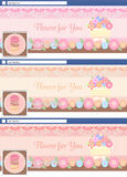 Cute pastel face book page cover banner and background backgroun Stock Photo