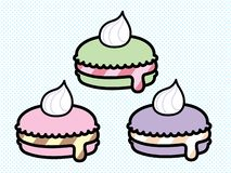 Cute Pastel Macarons Vector Set stock illustration