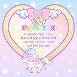 Cute pastel magical lovely heart ribbon and unicorn banner templ Royalty Free Stock Photos