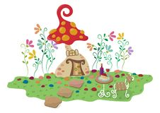 Cute Pastel Mushroom House vector illustration
