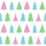 Cute pastel pink blue green christmas tree on a white background. Pattern seamless vector Royalty Free Stock Images