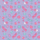 Cute pastel pink and blue seamless pattern with different candy like fruit gums, lollipop and stars on violet background