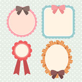 Cute pastel ribbon and lace label or banner or text box set Stock Images
