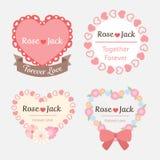 Cute pastel romantic wedding heart shape label. Template set Royalty Free Stock Photos