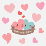 Cute pastel smiley heart with ribbon icon Stock Photos