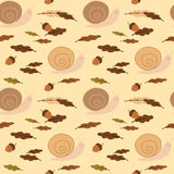 Cute pastel snail with acorns and leaves seamless pattern background illustration Stock Images
