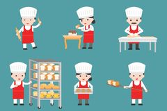 Cute pastry chef characters set with bread and cooking tools, fl. At design vector illustration