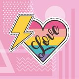 Cute patches love heart thunderbolt badge fashion. Vector illustration Stock Photo