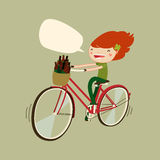Cute patrick's day girl on bicycle. cartoon girl cycling. vector illustration Royalty Free Stock Photos
