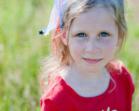Cute Patriotic Little Girl Stock Images
