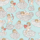 Cute pattern with angels on clouds. HAnd drawn sleeping angel, angel with heart and with bow and arrow. Royalty Free Stock Image