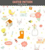 Cute pattern with animals, Bunny, birds, flowers Stock Photography