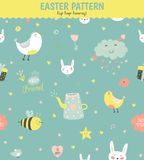Cute pattern with animals, Bunny, birds, flowers. Cute funny seamless pattern with animals, Bunny, hearts, stars, birds, flowers, chicken and wishes. Best for Royalty Free Stock Image