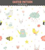 Cute pattern with animals, Bunny, birds, flowers Stock Image