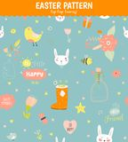 Cute pattern with animals, Bunny, birds, flowers Royalty Free Stock Photos
