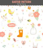 Cute pattern with animals, Bunny, birds, flowers. Cute funny seamless pattern with animals, Bunny, hearts, stars, birds, flowers, chicken and wishes. Best for Royalty Free Stock Photography