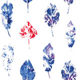 Cute pattern of beautiful prints of leaves. Vector illustration Stock Photography