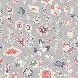 Cute pattern of birds, flowers, leaves and twigs Stock Photo