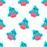 Cute Pattern With Blue Bird Stock Image