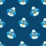 Cute Pattern With Blue Bird Stock Photos