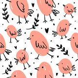 Cute pattern with cartoon pink birds. Temting contemporary art vector illustration